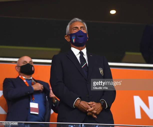 President FIGC Gabriele Gravina looks on during the UEFA Nations League group stage match between Netherlands and Italy at Johan Cruijff Arena on...
