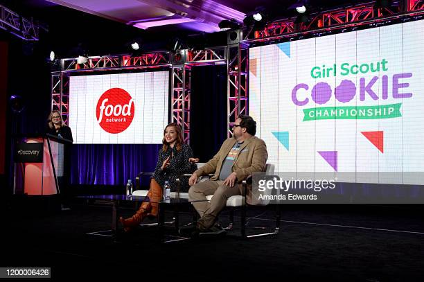 President Food Network Cooking Channel Courtney White Alyson Hannigan and Nacho Aguirre of 'Girl Scout Cookie Championship' speak onstage during the...