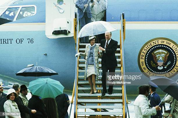 President Ford and the First Lady disembark Air Force One upon their arrival in Austria