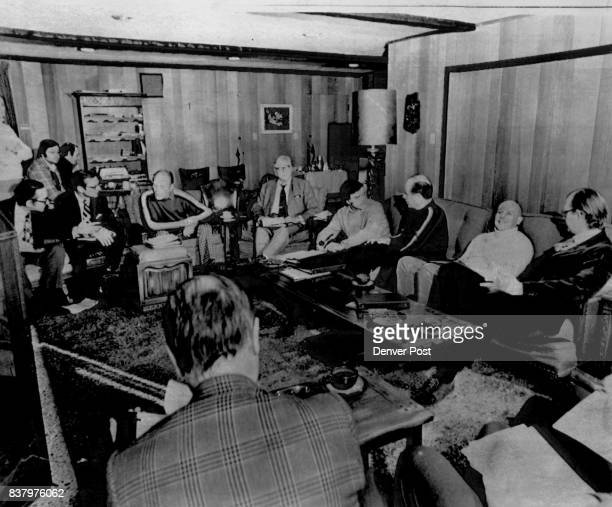 President Ford meets with energy policy advisers at his vacation headquarters at Vail Friday morning From left, front, are Alan Greenspan; William...