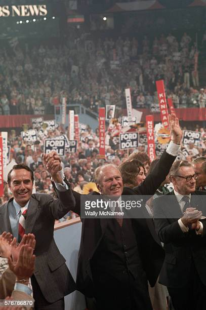 President Ford raises his hands with running mate Bob Dole on the last day of the Republican Convention
