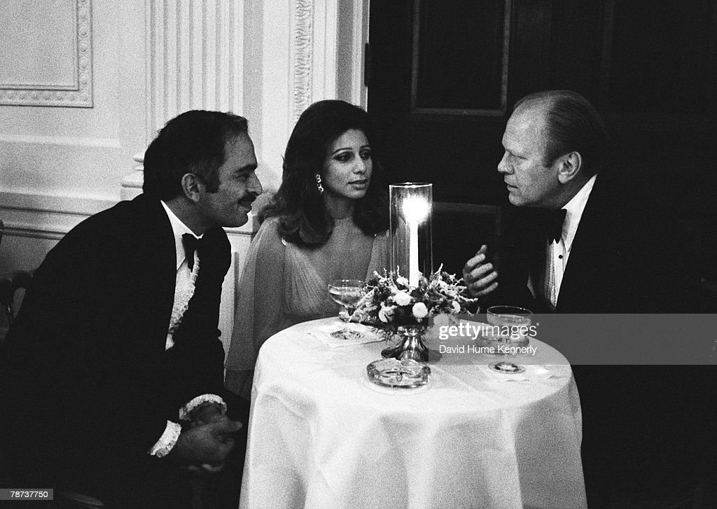President Ford Talks With King Hussein and Queen Alia : News Photo