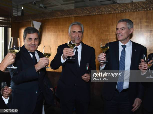 President FPF Fernando Gomes President FIGC Gabriele Gravina and CEO FC Internazionale Alessandro Antonello raise a toast before the UEFA Nations...