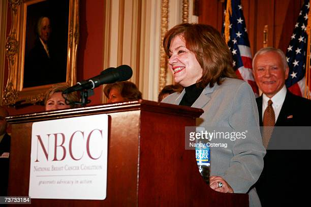 President Fran Visco speaks at the National Breast Cancer Coalition press conference at The Capitol on March 28 2007 in Washington DC