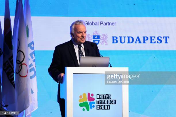 President Francesco Ricci Bitti addresses during the United Through Sport Sports Festival on day three of the SportAccord at Centara Grand Bangkok...
