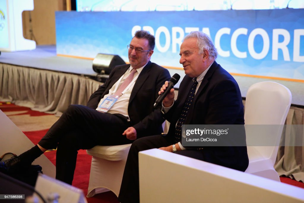 President Francesco Ricci Bitti (R) and Executive Director Andrew Ryan attend during the ASOIF Media Briefing on day three of the SportAccord at Centara Grand & Bangkok Convention Centre on April 17, 2018 in Bangkok, Thailand.