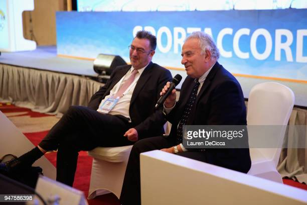 President Francesco Ricci Bitti and Executive Director Andrew Ryan attend during the ASOIF Media Briefing on day three of the SportAccord at Centara...