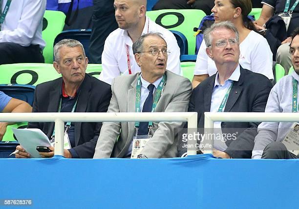 President Francis Luyce President of CNOSF Denis Masseglia Bernard Lapasset attend the swimming finals on day 3 of the Rio 2016 Olympic Games at...