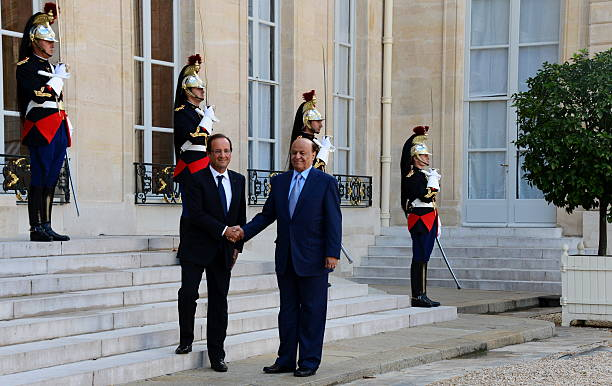 President Francois Hollande Greets His Yemeni Counterpart Abd Rabbo Mansour Hadi Prior To A Meeting At