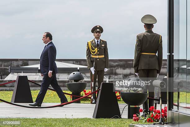 President Francois Hollande of France arrives for a commemoration ceremony at the Armenian genocide memorial on April 24 2015 in Yerevan Armenia...