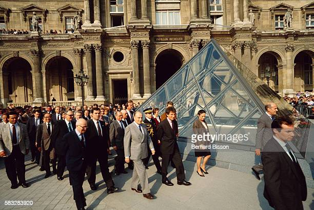 President Francois Mitterrand attends the opening ceremonies for the Pyramid Entrance of the Louvre museum. Joining him is minister Jack Lang.