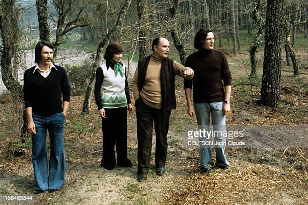 President Francois Mitterrand in his secondary house with his wife Danielle, his two son Gilbert and Jean-Christophe in Latch on April 1974;