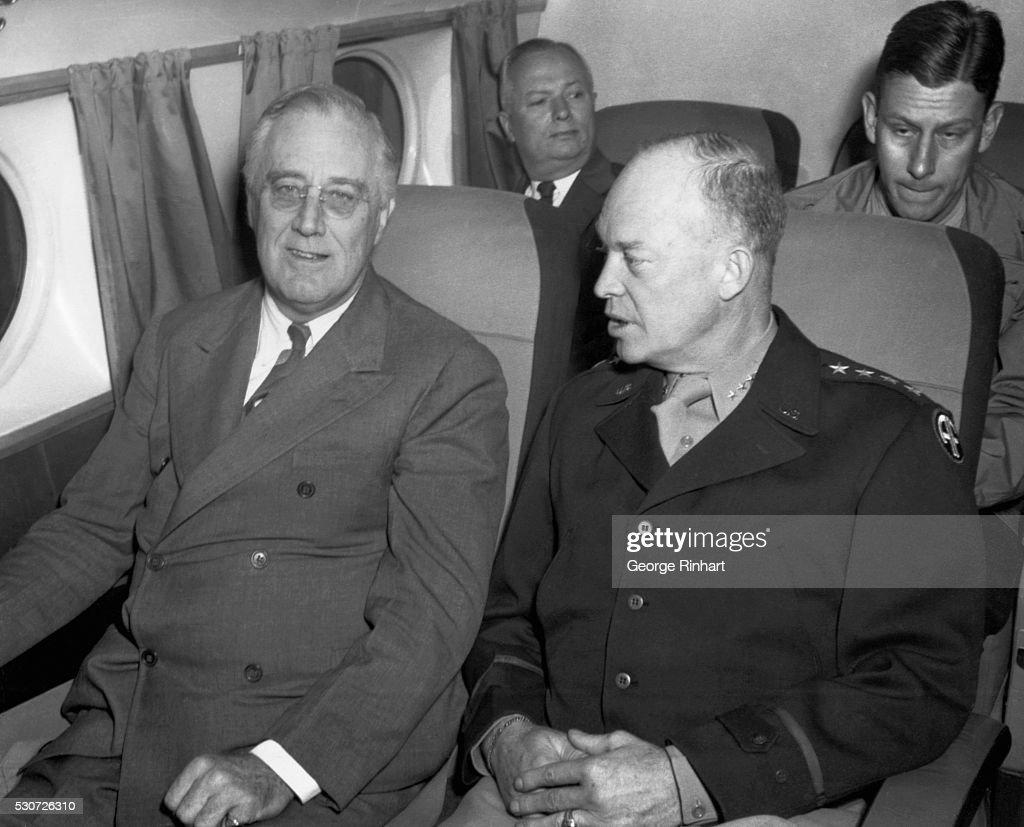 President Franklin Roosevelt and General Eisenhower on a Plane : News Photo