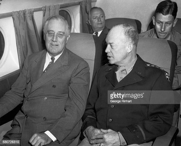 President Franklin D Roosevelt and General Dwight D Eisenhower on the president's plane en route to the Tehran Conference in December 1943