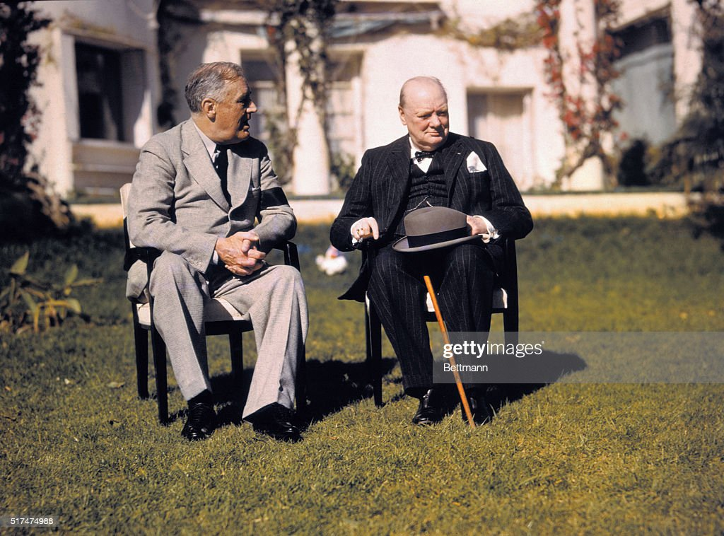 Franklin D. Roosevelt Chatting with Winston Churchill : News Photo