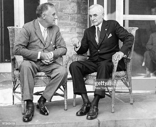 President Franklin D Roosevelt and Secretary of State Cordell Hull at Roosevelt's summer White House in Hyde Park NY