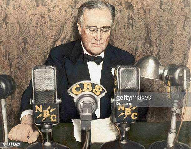President Franklin D Roosevelt delivers a radio address during one of his Fireside Chats