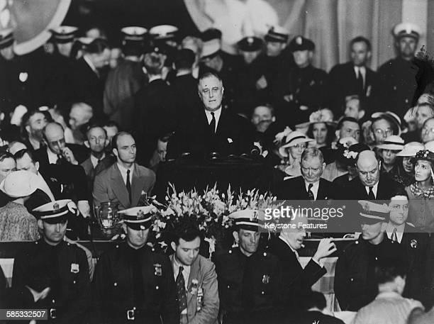 President Franklin D Roosevelt giving his acceptance speech in Philadelphia 1936