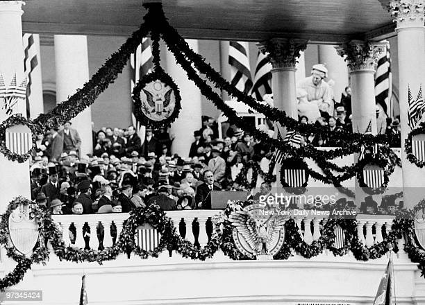 President Franklin D Roosevelt making his inaugural address to an audience before the East Portico of the Capitol