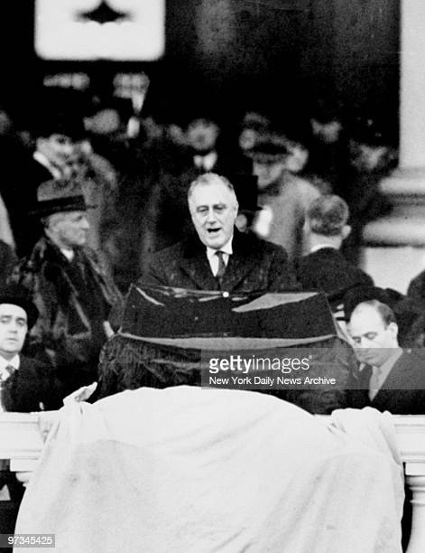 President Franklin D Roosevelt making his second inaugural address at the Capitol