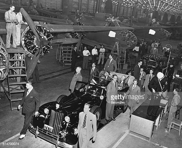 US President Franklin D Roosevelt on an inspection tour of the Douglas Aircraft Company's factory in Long Beach California USA