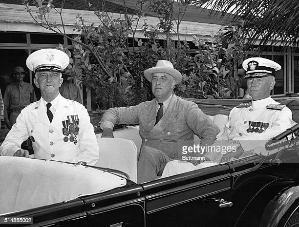US President Franklin D Roosevelt pictured in his car with Major General Daniel E Van Voorhis Commanding General of the Canal Zone and Rear Admiral...