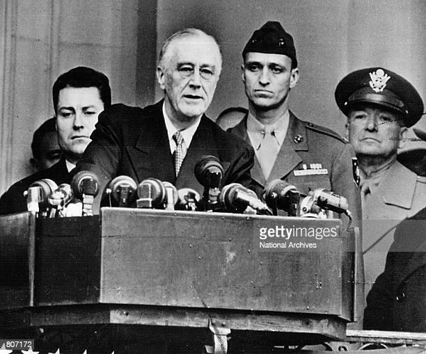 President Franklin D Roosevelt speaks at his Inauguration for the 4th time January 20 1945 in Washington DC