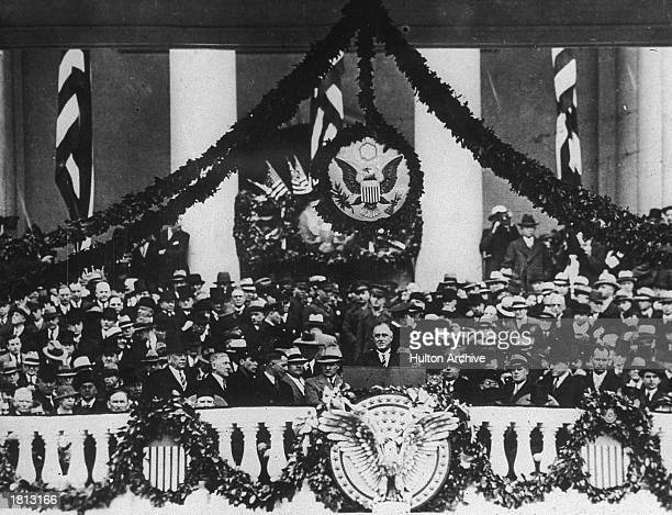 President Franklin D Roosevelt speaks at the podium during his inaugural address Washington DC March 4 1933