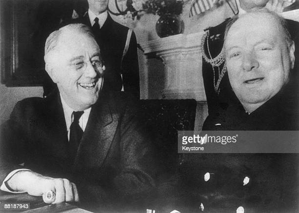 President Franklin D. Roosevelt with British Prime Minister Winston Churchill at the White House, Washington DC, December 1941.
