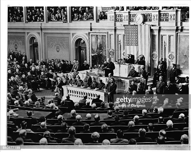 President Franklin Delano delivers his 1941 State of the Union address to a joint session of Congress