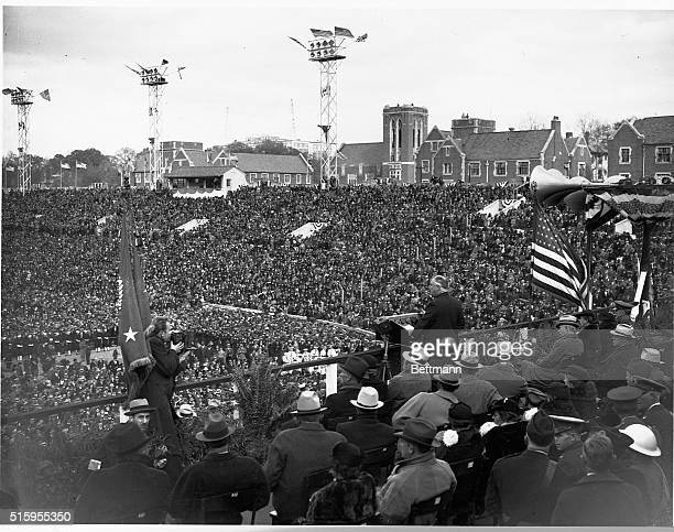 President Franklin Delano Roosevelt addresses crowds at Grant Field and defends the New Deal.