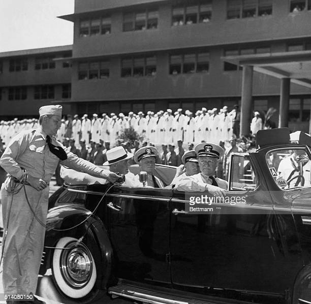 President Franklin Delano Roosevelt addresses staff and wounded personnel during his visit to the new naval hospital at Aiea Heights Hawaii With him...