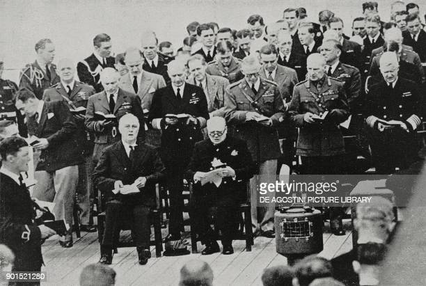 US President Franklin Delano Roosevelt and British Prime Minister Winston Churchill on the British battleship HMS Prince of Wales to sign the...
