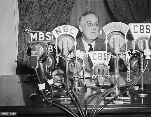 President Franklin Delano Roosevelt delivering one of his fireside chats This one involved inflation and his sevenpoint National Economic Policy...