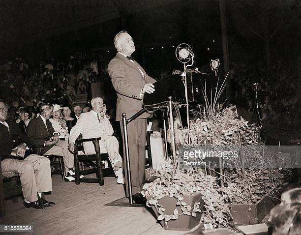 President Franklin Delano Roosevelt delivers his 'I Hate War' speech at Chautauqua Institution in Chautauqua New York