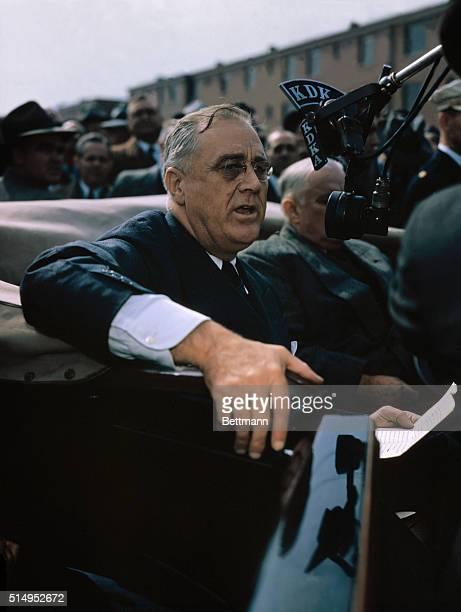 US President Franklin Delano Roosevelt Riding in Car
