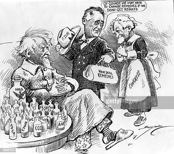 President Franklin Delano Roosevelt , seen as Dr New Deal, trying several remedies for an ailing Uncle Sam; Congress is portrayed as a nurse...