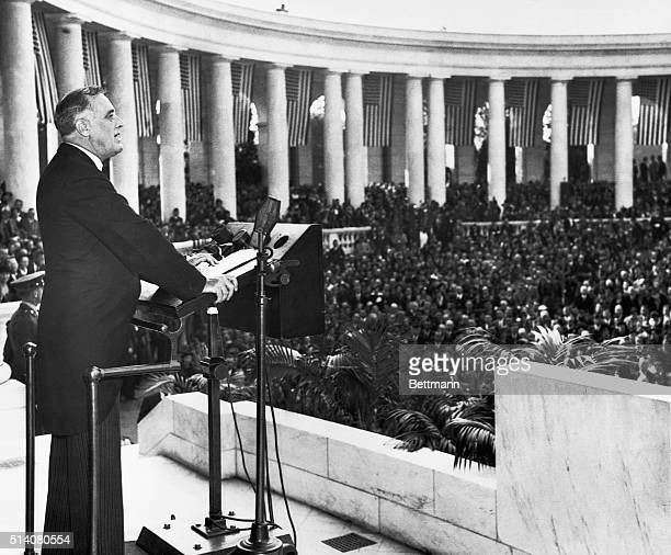 President Franklin Delano Roosevelt speaks at Memorial Amphitheater at Arlington National Cemetery amphitheater on Armistice Day