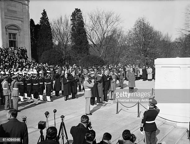 US President Franklin Roosevelt and General John Pershing Lead Nation in Observance of Armistice Day at Tomb of Unknown Soldier Arlington National...