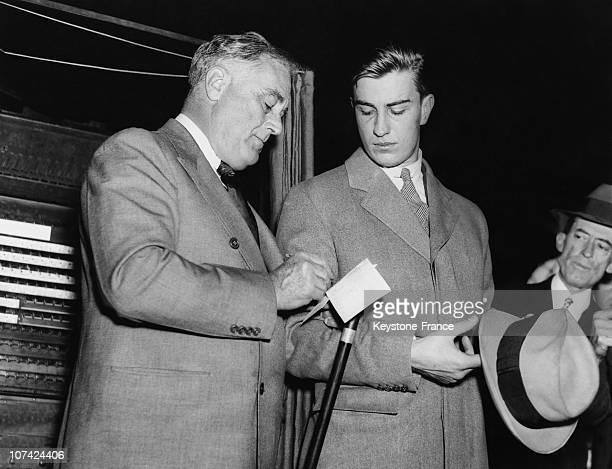 President Franklin Roosevelt And His Eldest Son Voting In New York On November 3Rd 1936