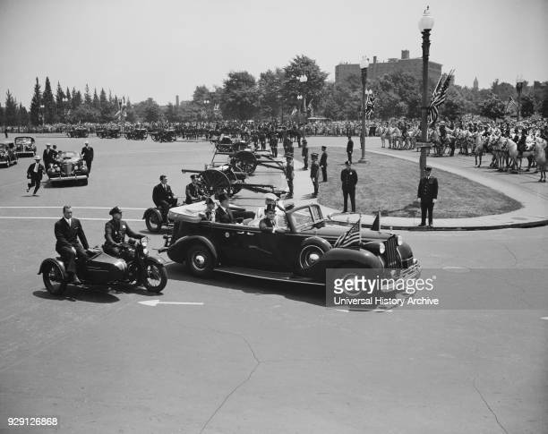 US President Franklin Roosevelt and King George V in Automobile Leaving Union Station for White House Washington DC USA Harris Ewing June 8 1939