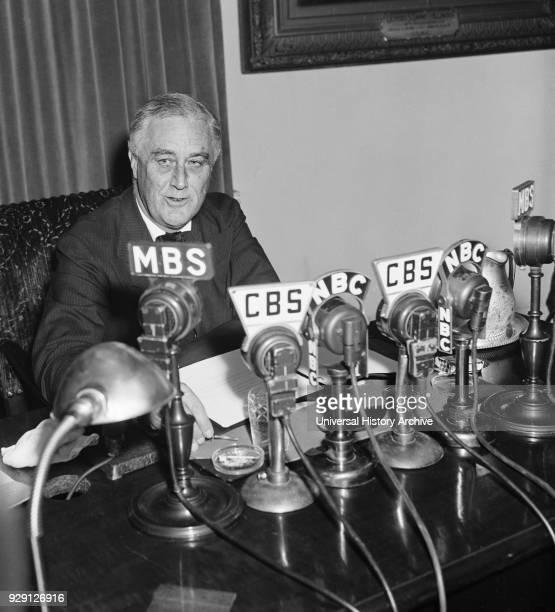President Franklin Roosevelt Broadcasting to Nation about European War Crisis, Washington DC, USA, Harris & Ewing, September 3, 1939.
