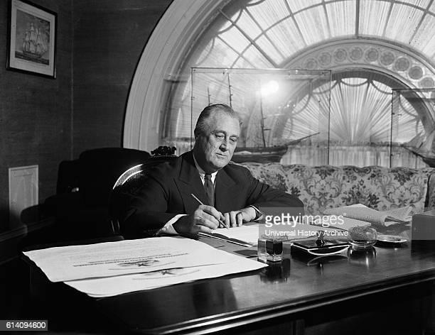 US President Franklin Roosevelt Signing Bills at White House Washington DC USA circa 1936