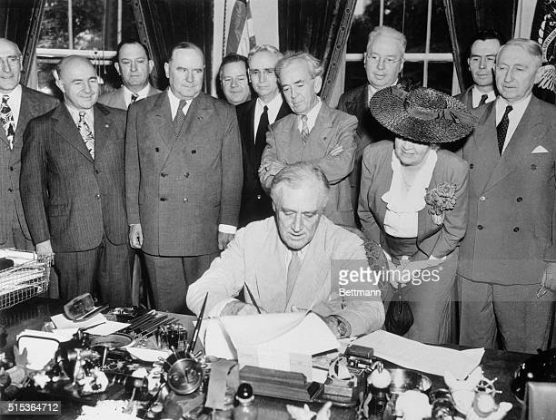 President Franklin Roosevelt today signed the GIBill of Rights which provides broad benefits for veterans of World War II The ceremony was witnessed...