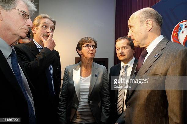President Frederic Thiriez French Sports Minister Valerie Fourneyron Saint Etienne Mayor Maurice Vincen and Bordeaux Mayor Alain Juppe attend the...