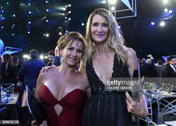SAGAFTRA president Gabrielle Carteris and actress Laura Dern attend the 24th Annual Screen Actors Guild Awards show at The Shrine Auditorium on...