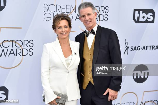 SAGAFTRA President Gabrielle Carteris and Charles Isaacs attend the 25th Annual Screen Actors Guild Awards at The Shrine Auditorium on January 27...