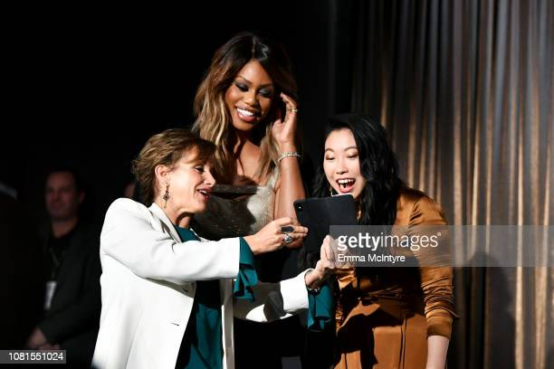 President Gabrielle Carteris Laverne Cox and Awkwafina speak onstage during the 25th Annual Screen Actors Guild Awards Nominations Announcement at...