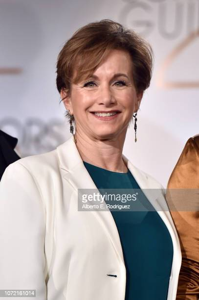 President Gabrielle Carteris poses onstage during the 25th Annual Screen Actors Guild Awards Nominations Announcement at Pacific Design Center on...