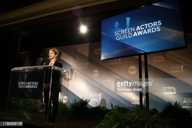 President Gabrielle Carteris speaks at the 26th Annual Screen Actors Guild Awards Nominations Announcement at Pacific Design Center on December 11,...